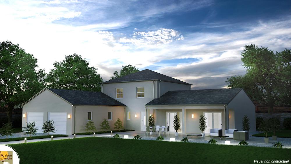 plan maison plain pied avec tour centrale