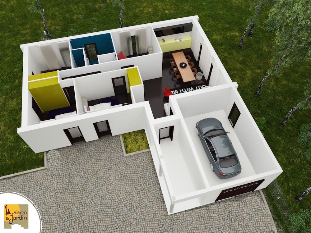 plan  modele contemporain maison et jardin axonometrie Carisma
