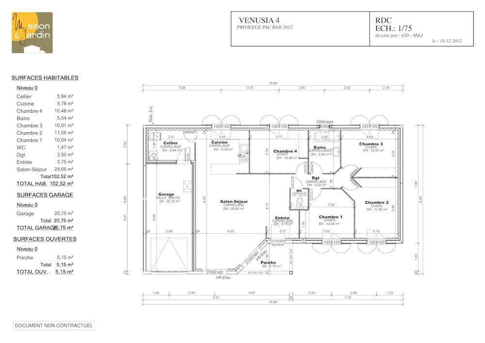 plan maison de plein pied