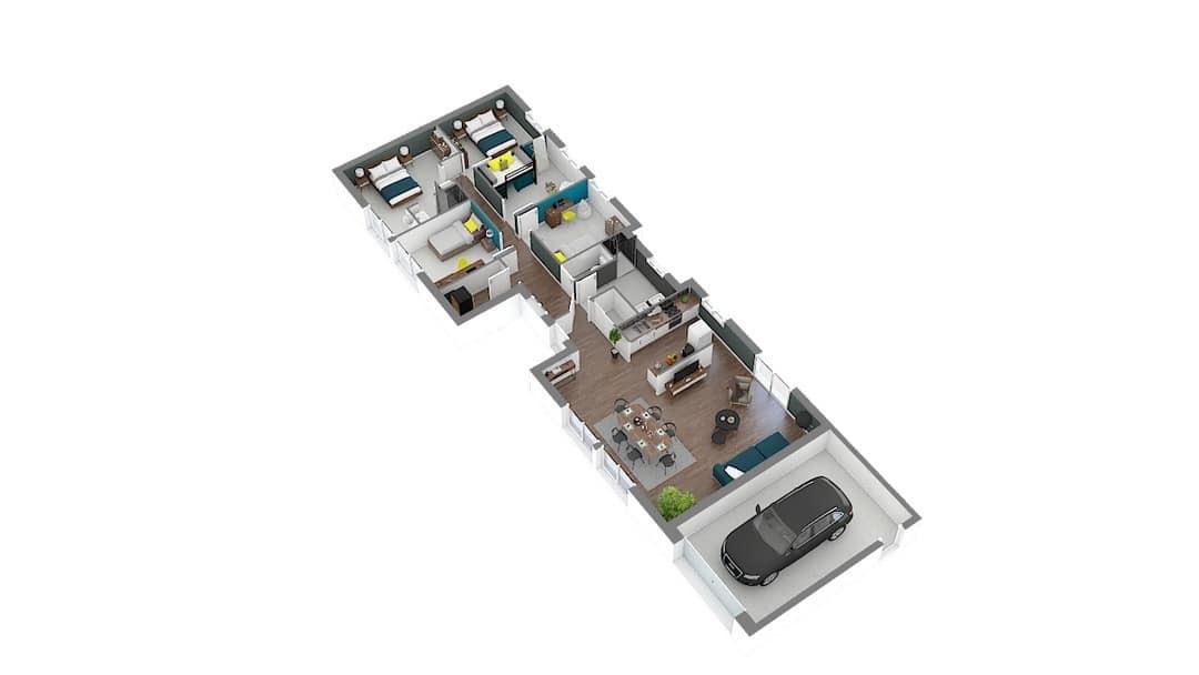 Elegantia maison contemporaine de plain pied avec plan en L (1)