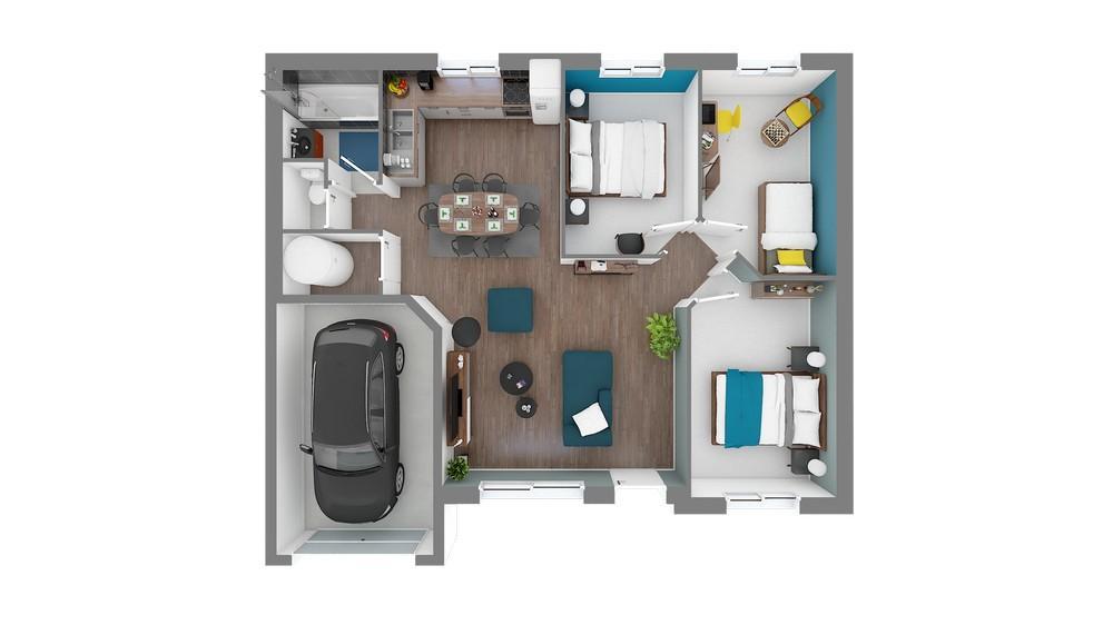 Plan_Maison et Jardin Modele low cost Focus_75-Vuededessus