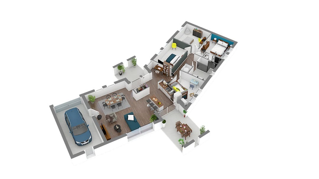 Verso maison contemporine avec plan en V (2)