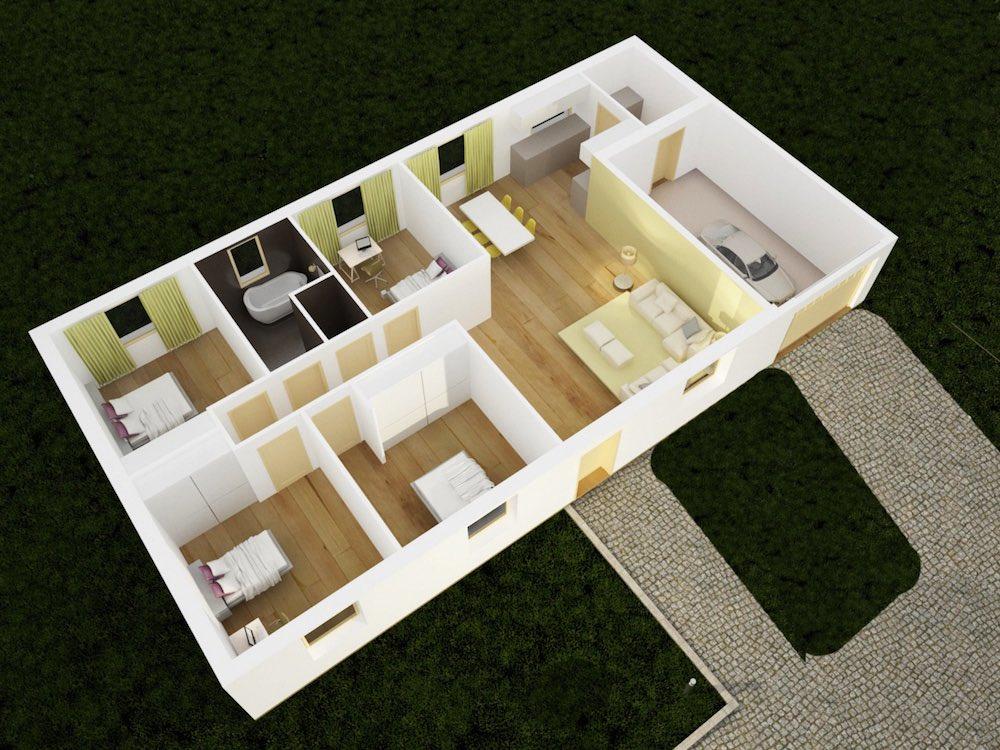 maison plain pied vue 3D
