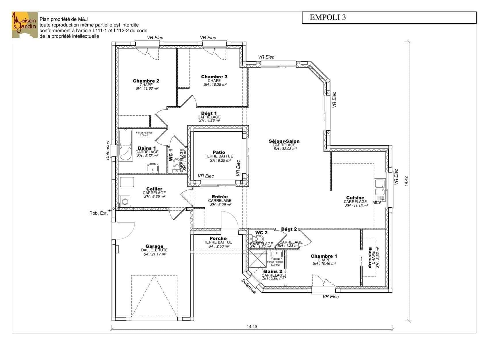 Maison Avec Patio Central Plan 8 Pieces 160