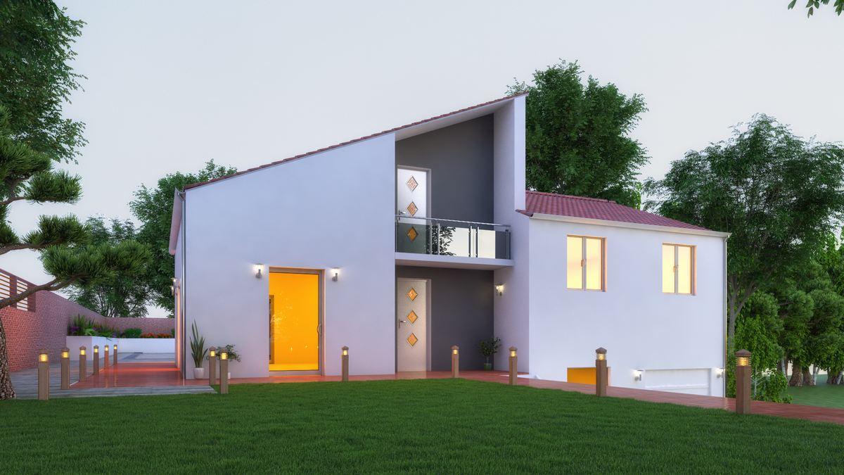 maison contemporaine avec toit monopente