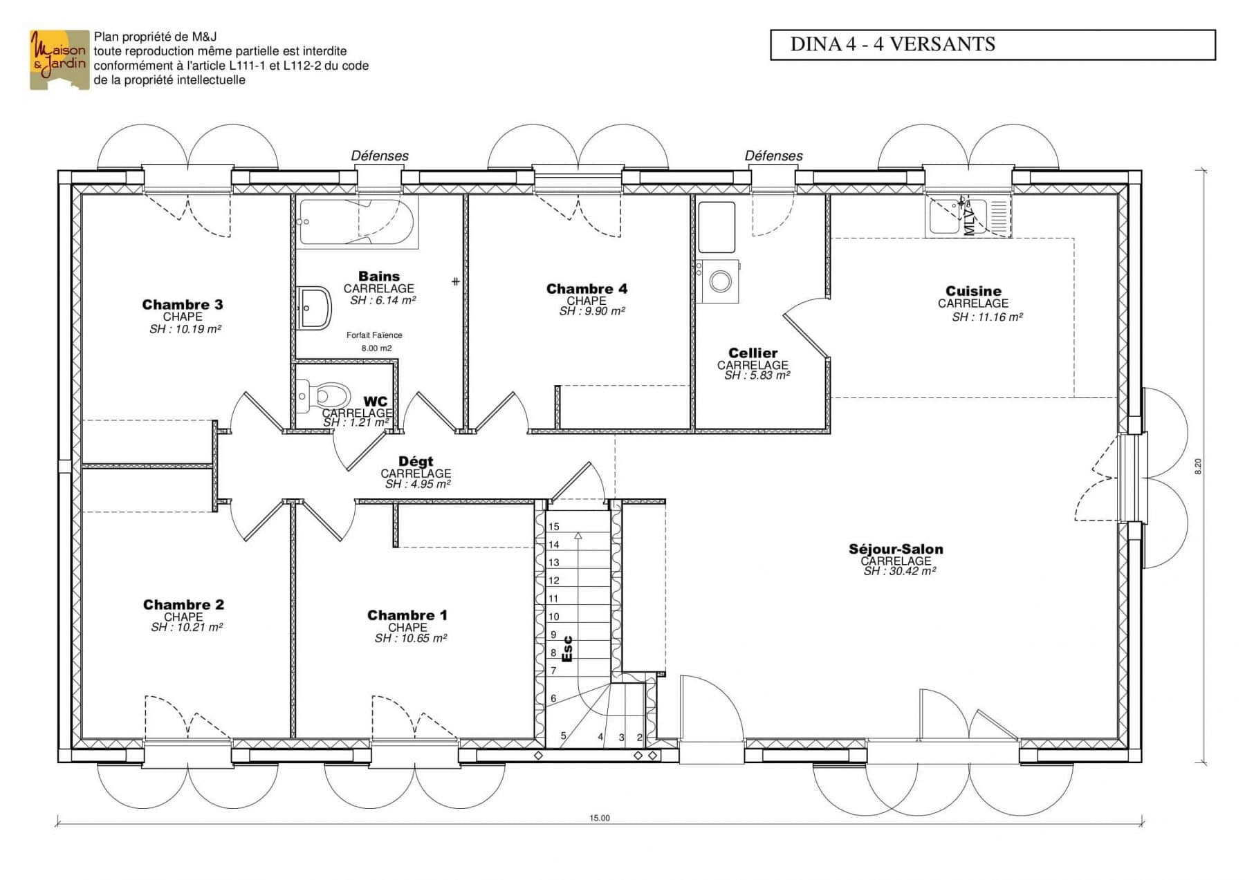 plan maison Dina101(4v)rdc sans cote