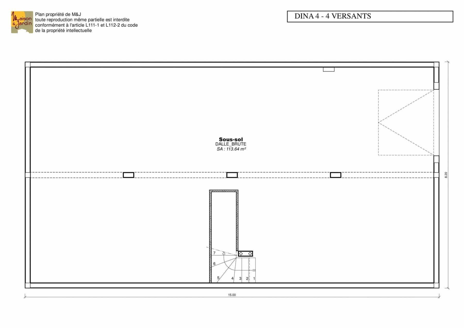 plan maison Dina101(4v)ssol sans cote
