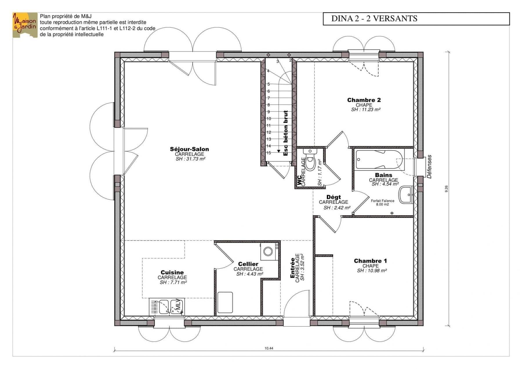 plan maison Dina78rdc sans cote
