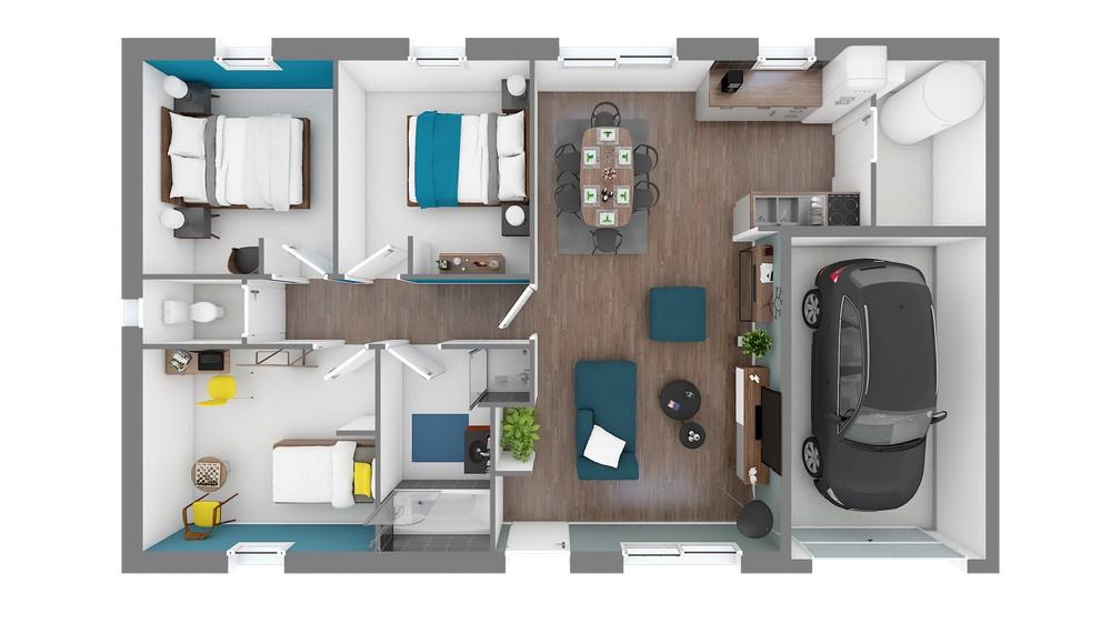Plan_Maison et Jardin Modele low cost Focus_80-Vuededessus