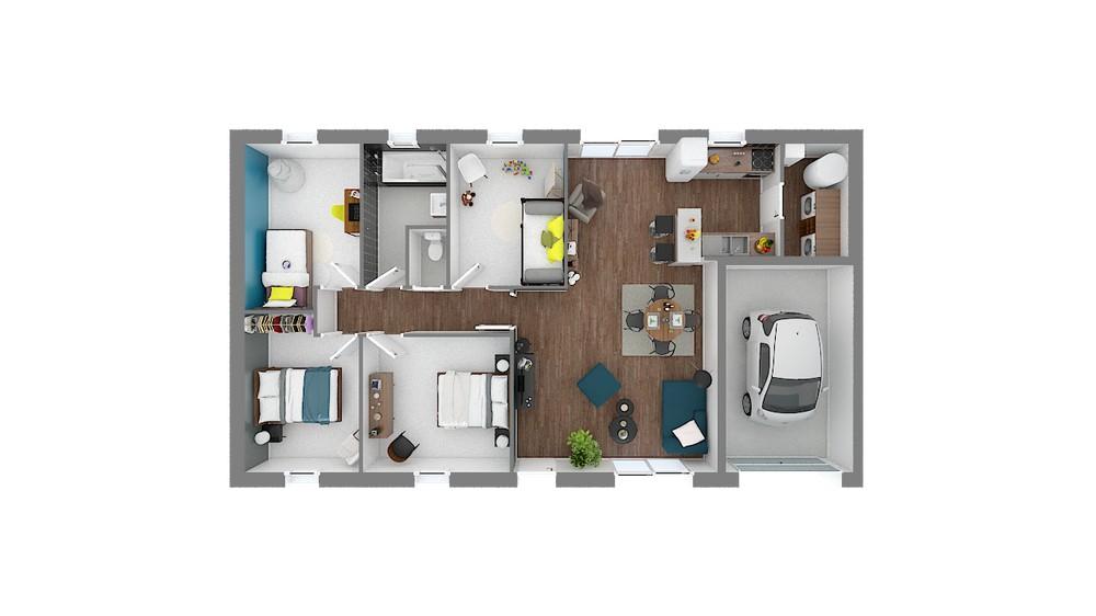 Plan_Maison et Jardin Modele low cost Focus_91-Vuededessus