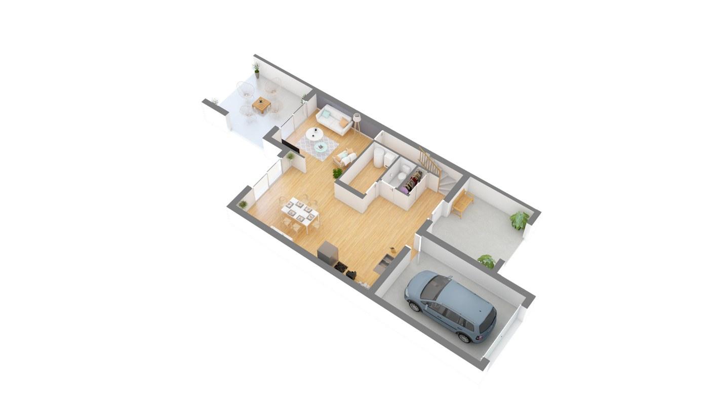 Maison et jardin plan Maison moderne contemporaine _SYLIA_115-g0-axo_rdc