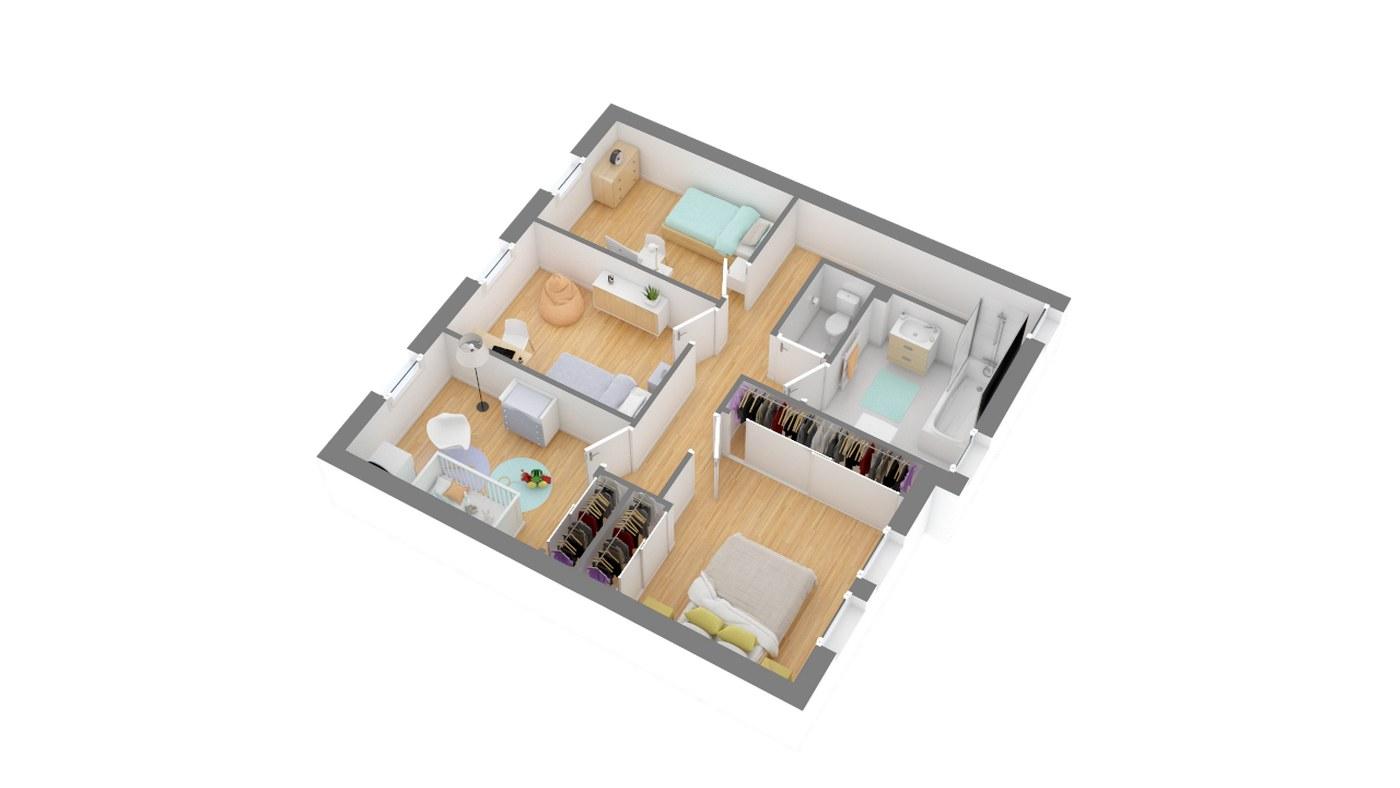 Maison et jardin plan Maison moderne contemporaine _SYLIA_115-g1-axo_etage