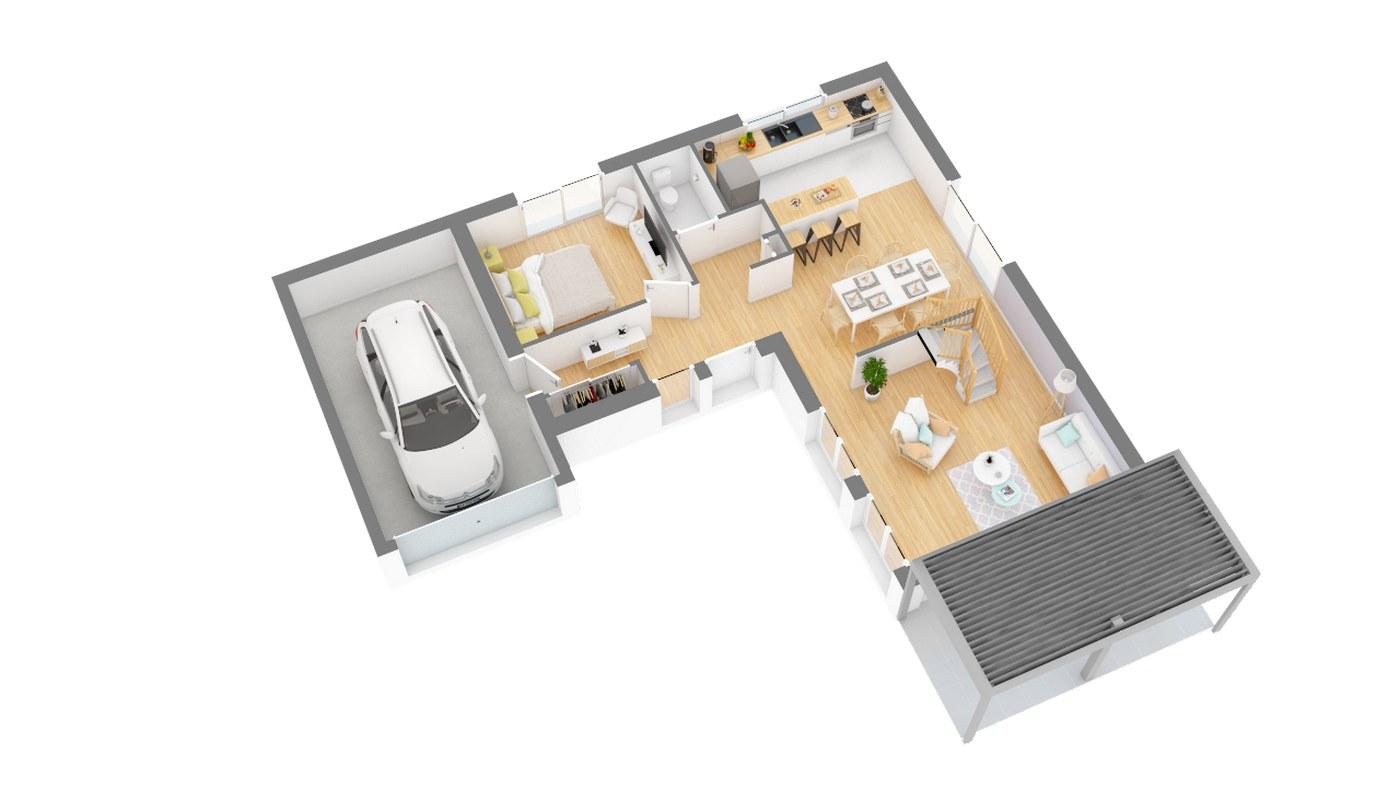 Maison et jardin plan Maison moderne contemporaine _SeRENA-g0-axo_rdc