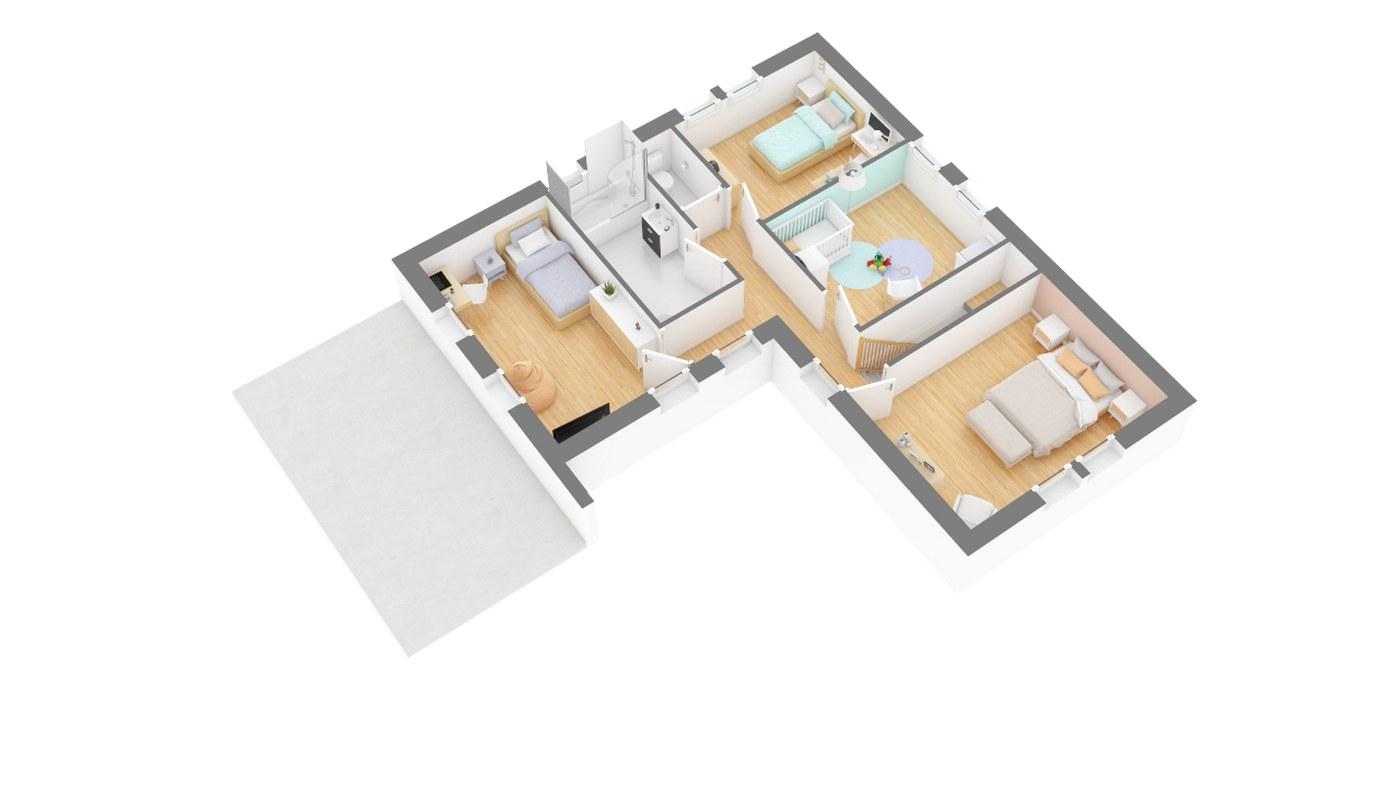 Maison et jardin plan Maison moderne contemporaine _SeRENA-g1-axo_etage